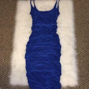 Blue Ruched Side Bodycon Midi Dress